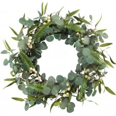 Miracliy Artificial Eucalyptus Wreath for Front Door Large Green Leaf Greenery Wreath for Festival Celebration Wall Window Party Decoration