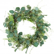 Miracliy 20'' Green Leaf Eucalyptus Wreath White Flowers Fern Leaves for Festival Celebration Front Door Wall Window Décor