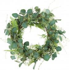 Miracliy 20'' Green Leaf Eucalyptus Wreath White Flowers Fern Leaves for Festival Celebration Front Door Wall Window Décor