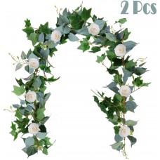 Miracliy White Flower Garland Fake Rose Vine Hanging Greenery Garland 2 pcs 6.5 FT