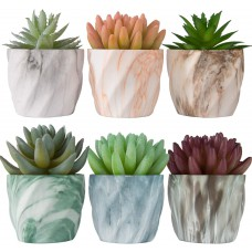 Miracliy 2.75 inch Marble Mini Succulent Pots Ceramic Planters Cactus Bonsai Flower Pots with Drinage(Set of 6)