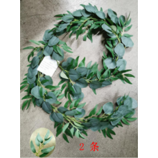 Miracliy 2 Pack Artificial Eucalyptus Garland with Willow Leaves, 6 Feet Fake Greenery Vines Swag for Wedding Table Runner Doorways Decoration Indoor Outdoor
