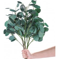 Miracliy 3 PCS 22.5IN Artificial Eucalyptus Stems, Faux Eucalyptus Leaves Real Touch Greenery Branches for Vase Home Party Wedding Decoration