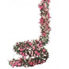 Miracliy 10 pcs 82.5 FT Flower Garland Fake Rose Vine Artificial Flower Hanging Rose Ivy Home Hotel Office Wedding Party Garden Craft Art Décor (Pink)