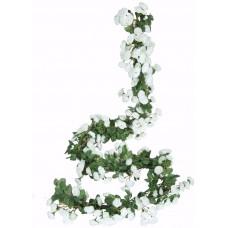 Miracliy 2PCS 69 Heads Fake Rose Vine Flowers Plants Artificial Flower Hanging Rose Wedding Party Garden Craft Art Décor, White