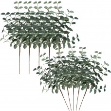 Miracliy 10 PCS Artificial Eucalyptus Leaves Greenery Stems Faux Silk Silver Dollar Eucalyptus Leaf Branches Green Bulk for Home Party Wedding Decoration