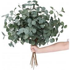 Miracliy 20 PCS Artificial Eucalyptus Stems Bulk, Faux Eucalyptus Leaves Greenery Stems for Vase Wedding Home Garland Decor